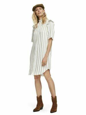gold stripe creme dress