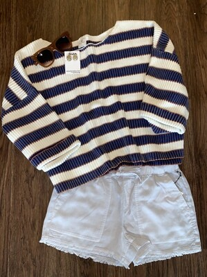 Wide Arm horizontal knitted stripe pullover tunic