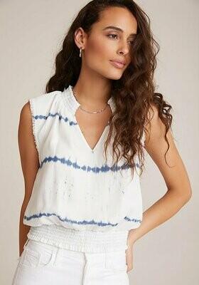 Smocked waist top indigo white out