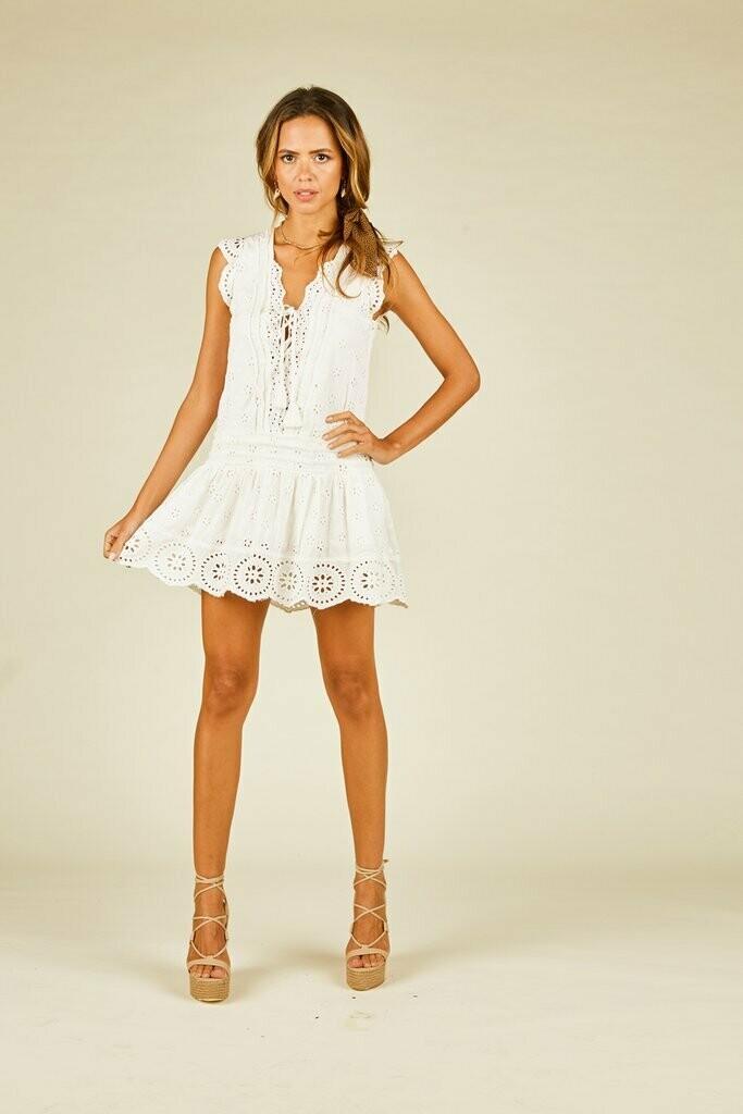 White Eyelet Emb Lace up mini dress