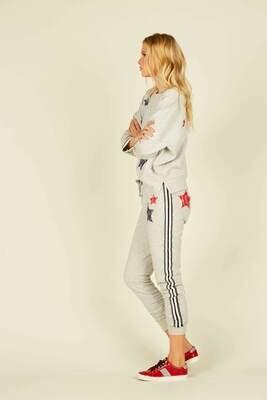 Heather Grey Red/Blue Tape bandana patch jogger