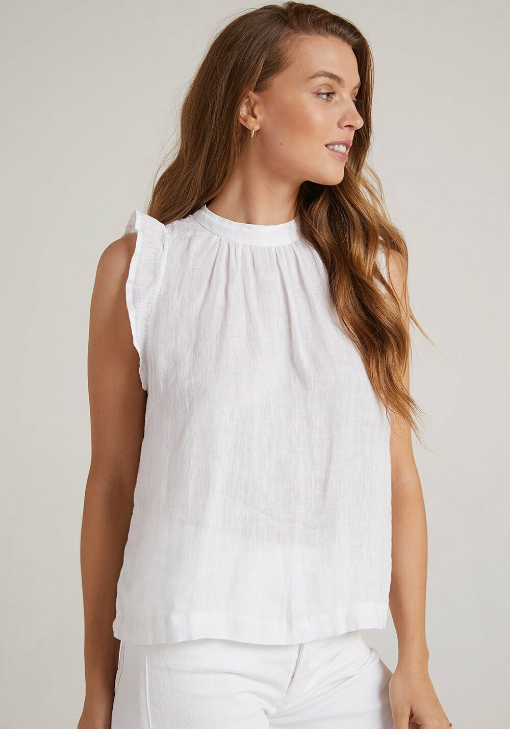 Mock Neck Ruffle Top -White