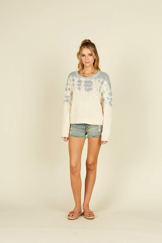 Ivory w/slate tie dye ripped sweater