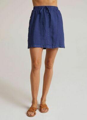 Side Button Skirt -Deep Indigo