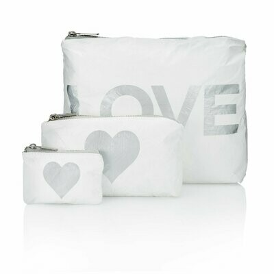 Set of Three Pcks-White w/ Met Silv Love