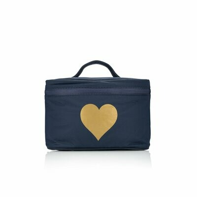 Cosmetic Case-Navy w/ Gold Heart
