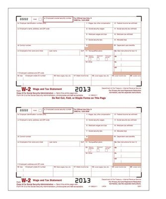 W-2 Form #5201 (Pkg. of 100 Forms)