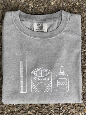 Back to School Trio Sketch Gray Tee
