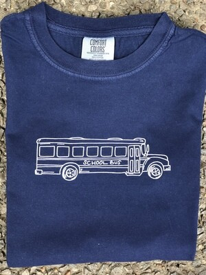 School Bus Sketch Navy Tee