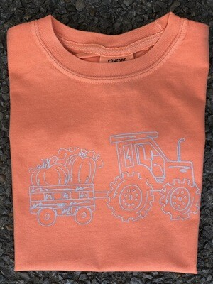 Tractor w/ pumpkins Sketch Orange Tee