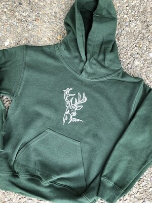 Hunter Green Hooded Sweatshirt- Deer