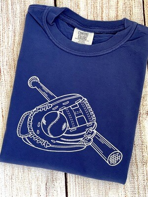 Baseball Trio Sketch on China Blue tee
