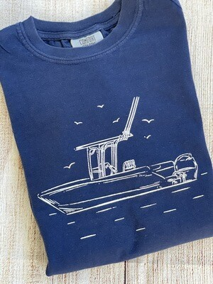 Fishing boat on 'Navy' Sketch tee