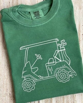 Golf Cart on Green Sketch tee
