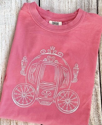 Princess Carriage on Pink Sketch tee