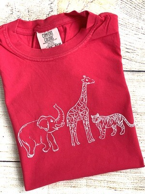 Safari/Zoo sketch on Red tee