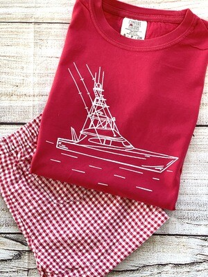 Deep Sea Fishing Sketch on Red Tee