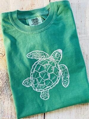 Sea Turtle Sketch on Green Tee