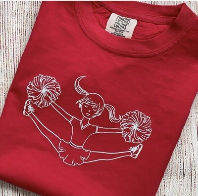 Cheerleader Toe touch Sketch on Red Tee