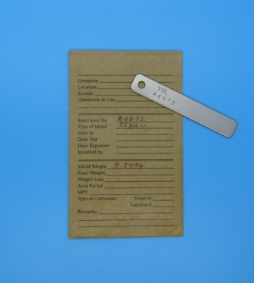 Corrosion Coupon, Stainless Steel (316L), Pre-Weighed in VCI Barrier Bag
