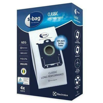 GENUINE ELECTROLUX LONG PERFORMANCE S-BAG VACUUM BAGS PART E201S PKT 4