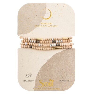 WB003 Stone Of Harmony Wrap Howlite/Gold