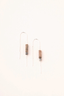 Stone Thread Earrings Rhodonite ET005