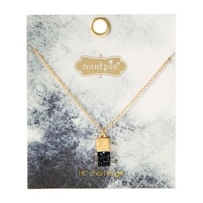 Druzy Necklace Black #80290048Bk