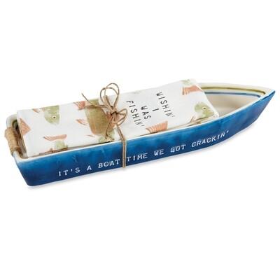 Navy Boat Cracker Dish Towel #42300014N