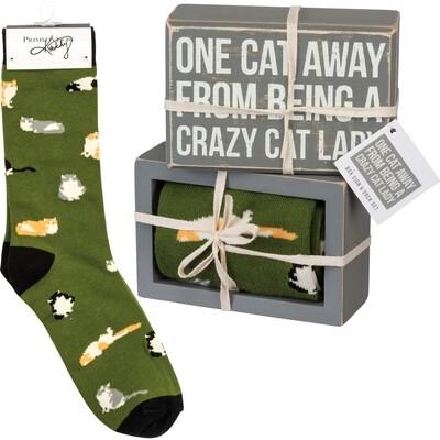 Box Sign & Sock Set - One Cat #105538