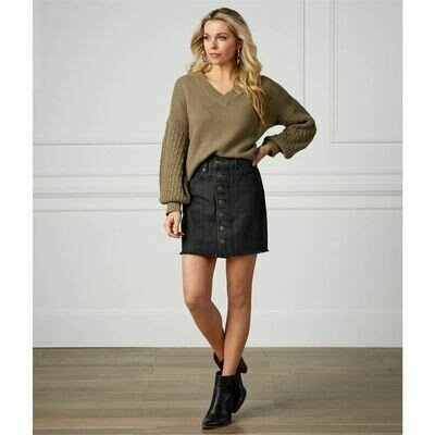 Fitz Button Front Skirt #85200107BK-L