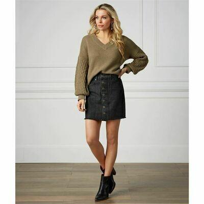 Fitz Button Front Skirt #85200107BK-M
