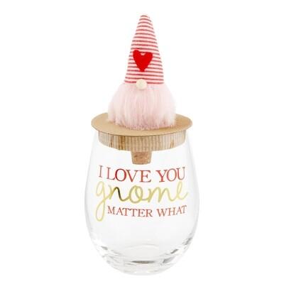 Pink Valentine Gnomewine Glass #44600052P