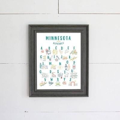 Minnesota Alphabet Paper Print
