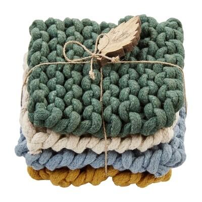 Dark Green Crochet Coasters #42500135D