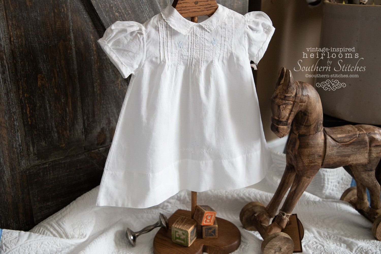 Vintage White with Blue Embroidery Dress