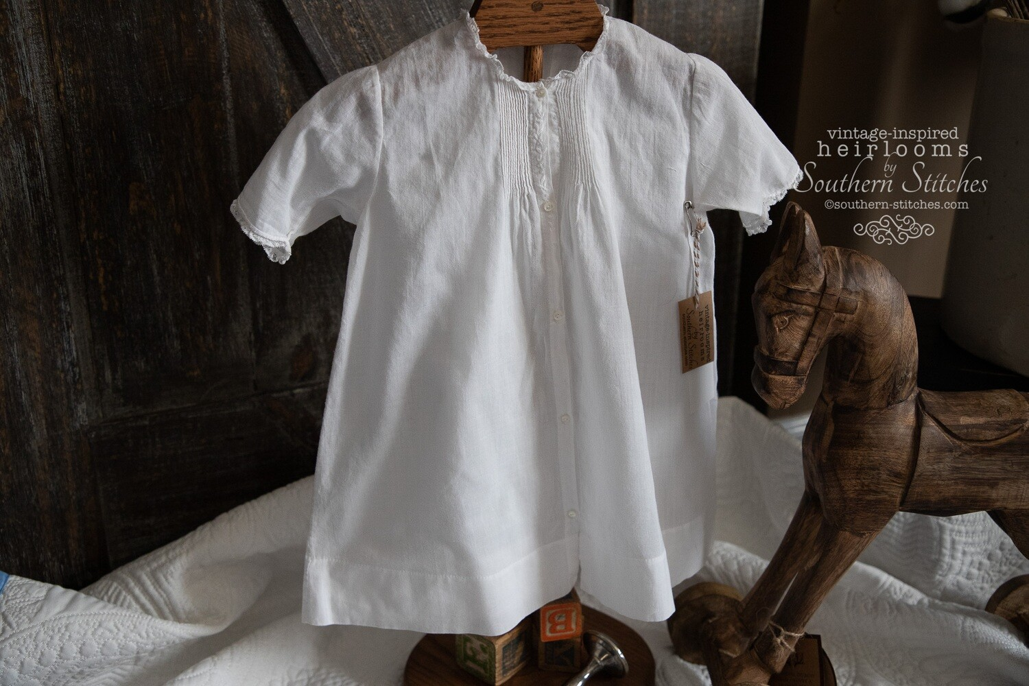 White Vintage Infant Daygown