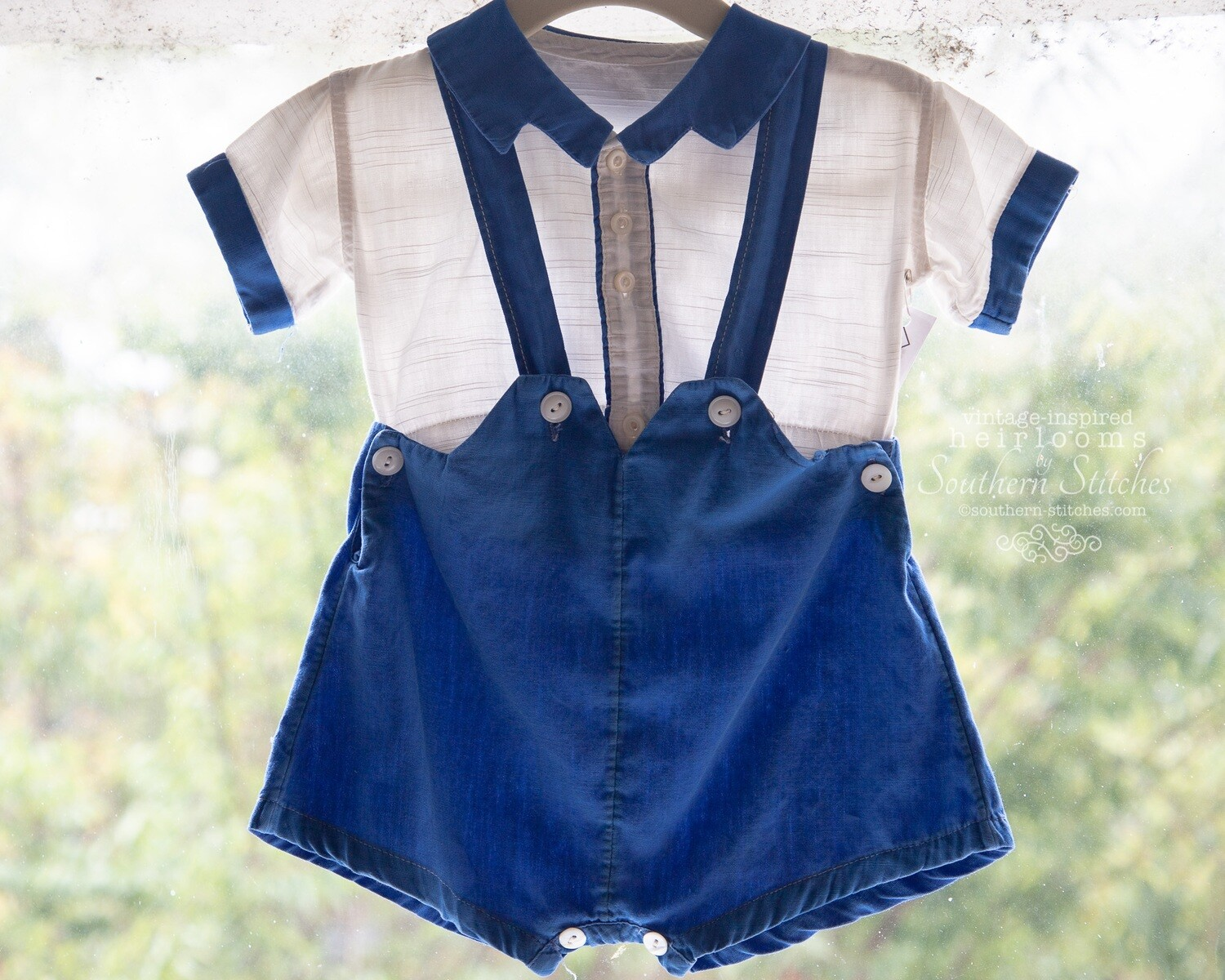 Boy's Vintage Button-On Shorts & Shirt Set
