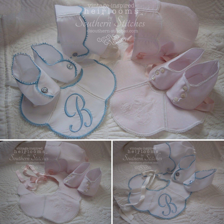Custom-made Bonnet, Bib & Booties Set