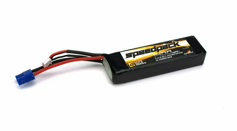 11.1V 1400mAh 30C 3S LiPo, Long w/EC3: Minis (DYN1477)