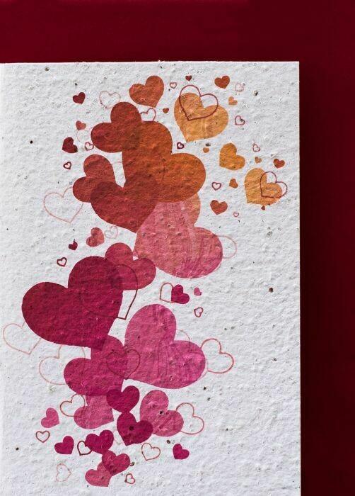 Karte Herzen nachhaltig & fairtrade; growing Paper (Karte kann gepflanzt werden)