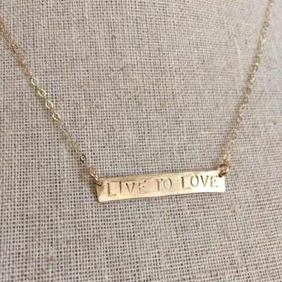 14k Gold-Filled or Sterling Silver Stamped Bar Necklace