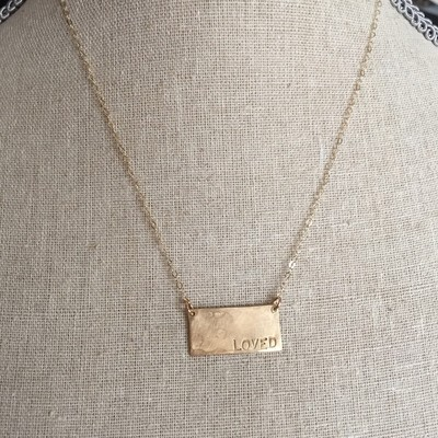 14k Gold-Filled or Sterling Silver Rectangle Stamped Necklace