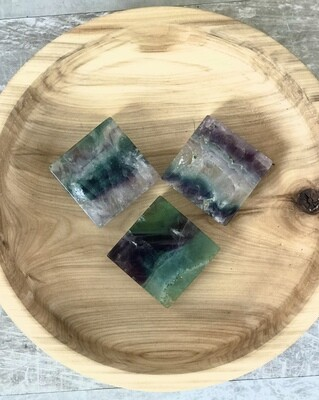 Rainbow Fluorite Palm Square