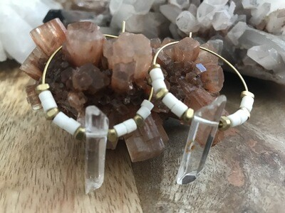 White Ox Bone and Quartz Brass Hoop Earrings