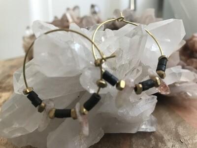 Ox Bone and Sunstone Brass Hoop Earring