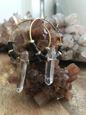 Dark Brown Ox Bone and Quartz Brass Hoop Earrings