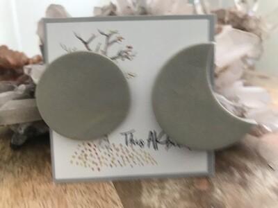 Medium Moon Phase Stud Earrings - Made in AK