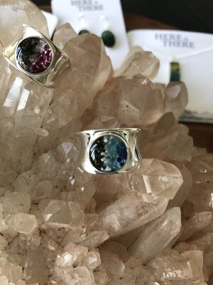 Homer Sand, Blue Apatite, Howlite and Sodalite Sterling Silver Ring -Size 7