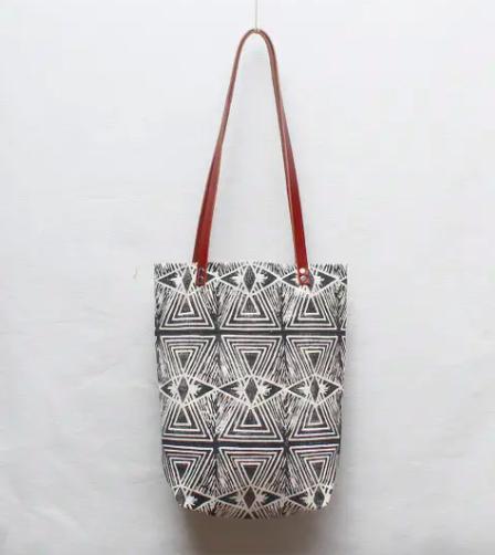 Optical Illusion Block Print Tote Bag